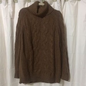 Lands End brown chunky turtleneck sweater